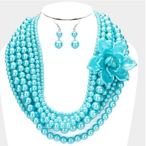 Multi Layer Flowers Strand Pearl Necklace